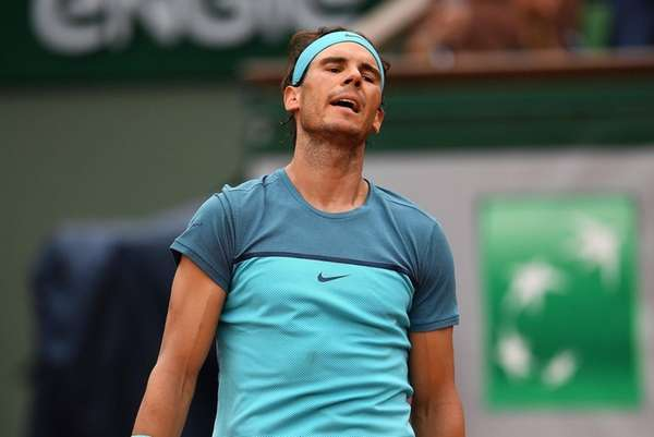 Rafael Nadal reacts during the men's singles second-round