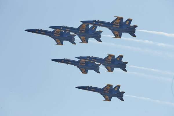 The U.S. Navy Blue Angels fly over Republic