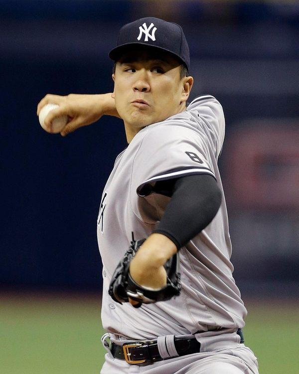 New York Yankees starting pitcher Masahiro Tanaka, pitches