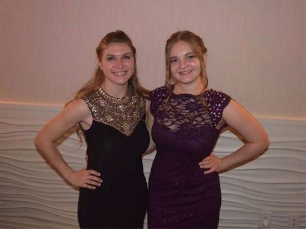Exchange student Lana Hoshko, right, and her host