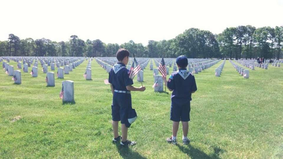Cub Scout Flag Placement at Calverton National Cemetery.