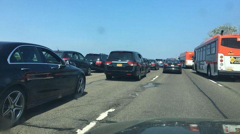 A view of traffic around Jones Beach on