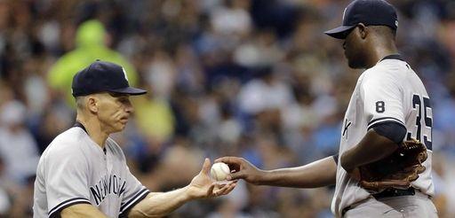 New York Yankees starting pitcher Michael Pineda, right,
