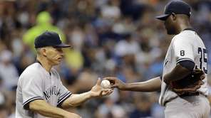 New York Yankees starting pitcher Michael Pineda, right,