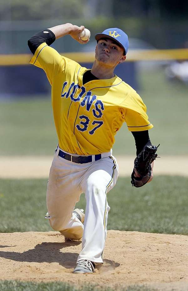 West Islip starting pitcher Ray Weber (37) delivers