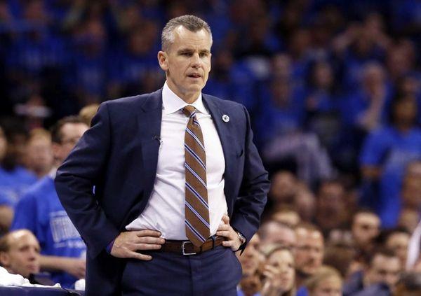 Oklahoma City Thunder head coach Billy Donovan watches