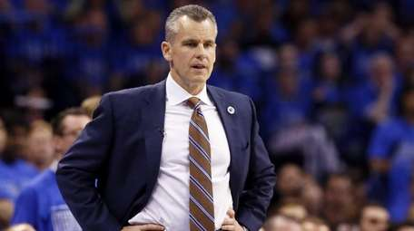 Oklahoma City Thunder head coach Billy Donovan watches
