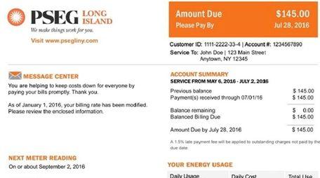 A revised PSEG bill. PSEG Long Island is