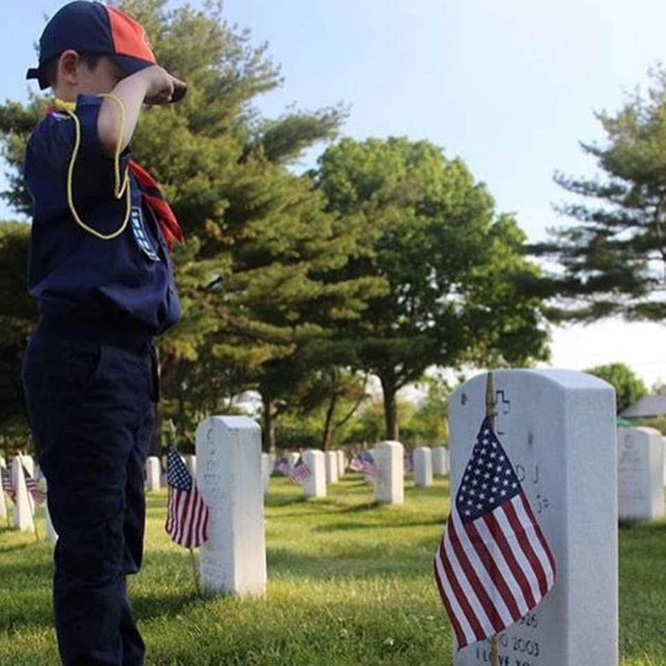 Donald McNeilly IV (Tiger Scout) saluting his great-grandfather