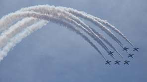 The Breitling Jet Team performs at the Bethpage