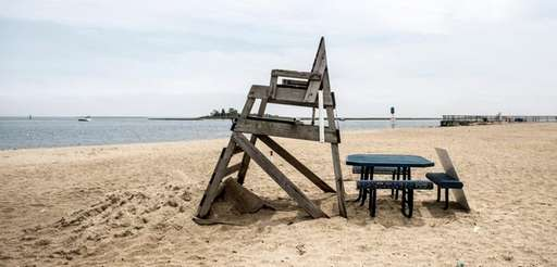 Philip Healey Beach in Massapequa, shown above Monday,