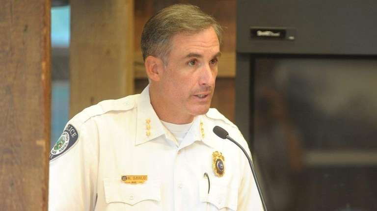 East Hampton Town Police Chief Michael Sarlo addresses