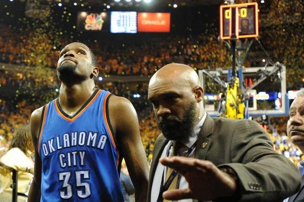 Kevin Durant of the Oklahoma City Thunder walks