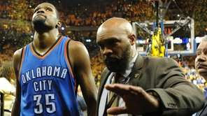 Kevin Durant of the Oklahoma City Thunder walks