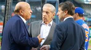 New York Mets team owners, from left, Saul