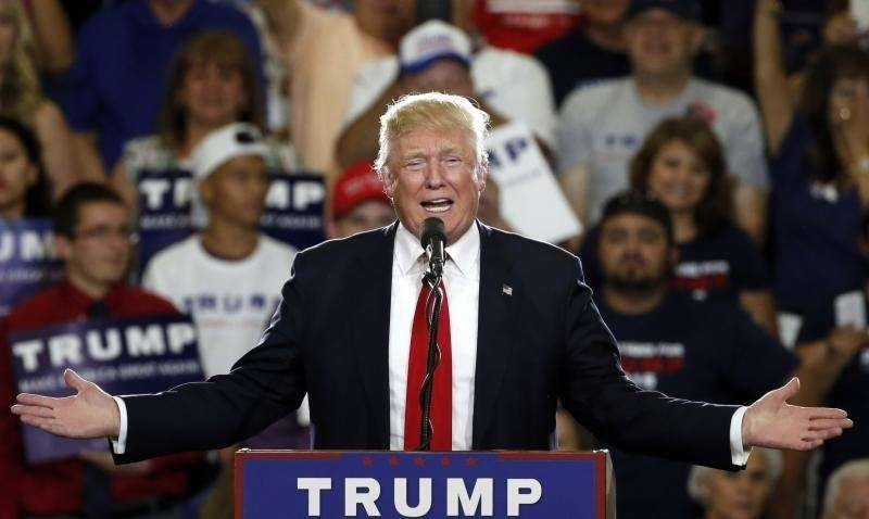 Republican presidential candidate Donald Trump speaks on May