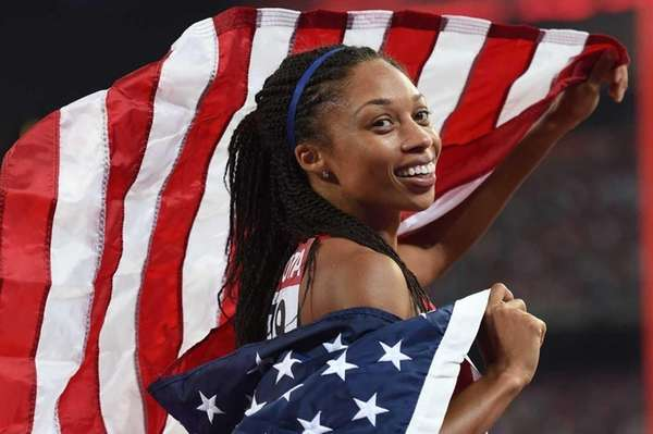 USA's Allyson Felix celebrates after winning the final