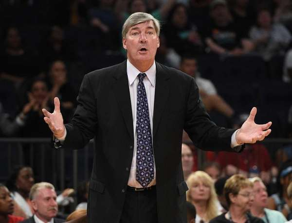 New York Liberty head coach Bill Laimbeer reacts