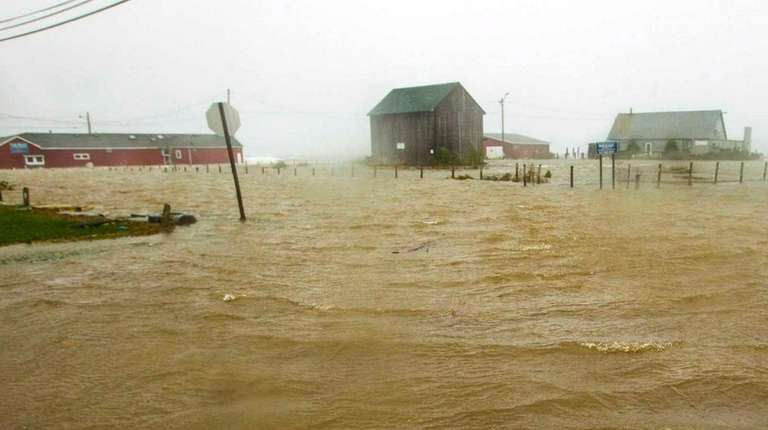 New Suffolk streets flooded on Oct. 28, 2012,