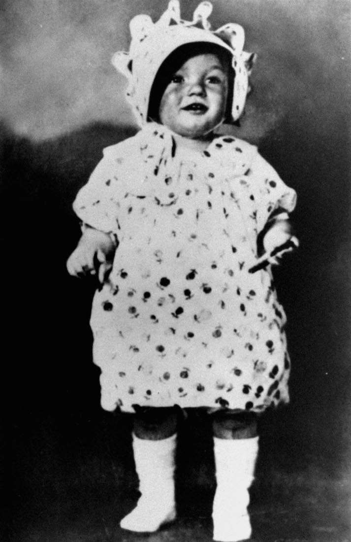 Marilyn Monroe, seen here in her childhood days,