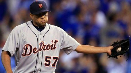 Detroit Tigers relief pitcher Francisco Rodriguez gets a