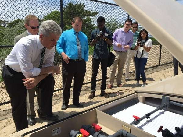 Suffolk County Executive Steve Bellone at a news