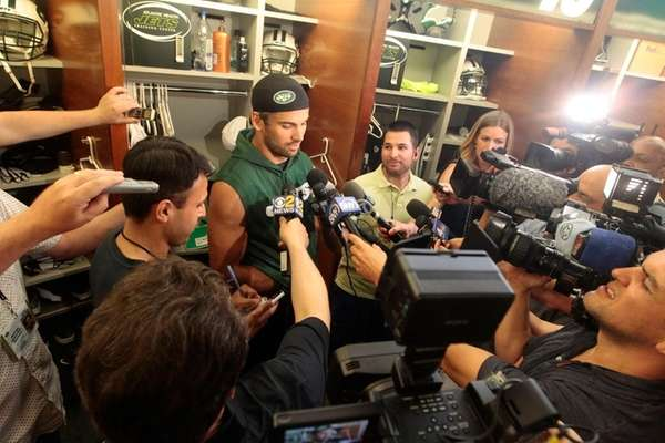 Eric Decker of the Jets addresses the media