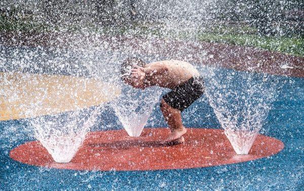 Three-year-old Vinny Vilardi of East Rockaway cools off