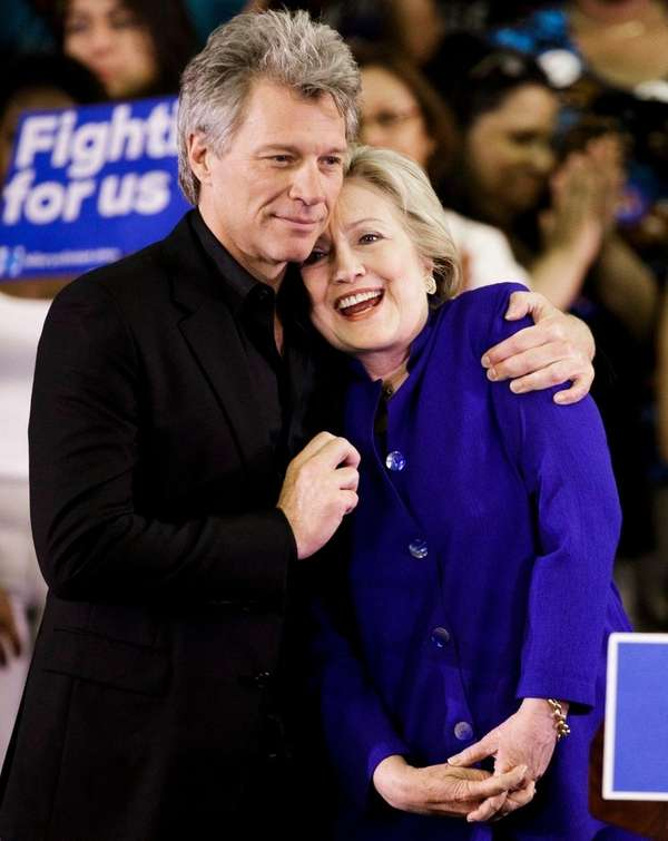 Democratic presidential candidate Hillary Clinton gets a hug