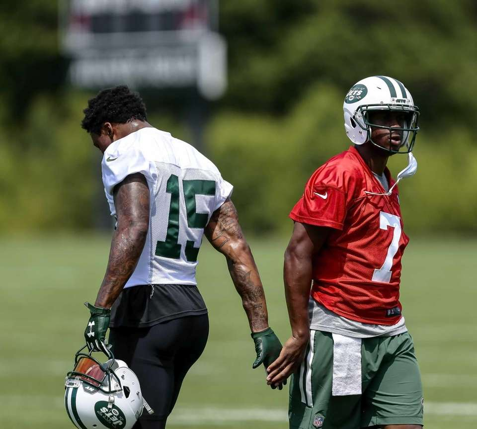 Quarterback Geno Smith and Jets receiver Brandon Marshall