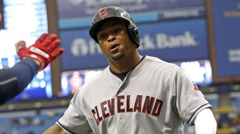 Marlon Byrd #6 of the Cleveland Indians celebrates