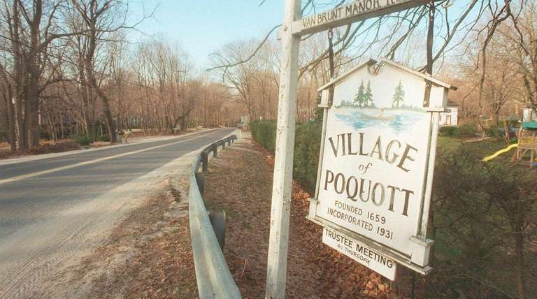 The Village of Poquott sign on March 1,