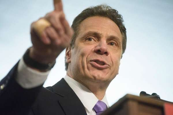 Gov. Andrew Cuomo speaks during a rally at