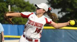 Center Moriches' Kylie Castellano on the mound against
