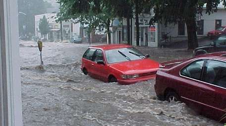 Flooding in Northport Village after a hard rain