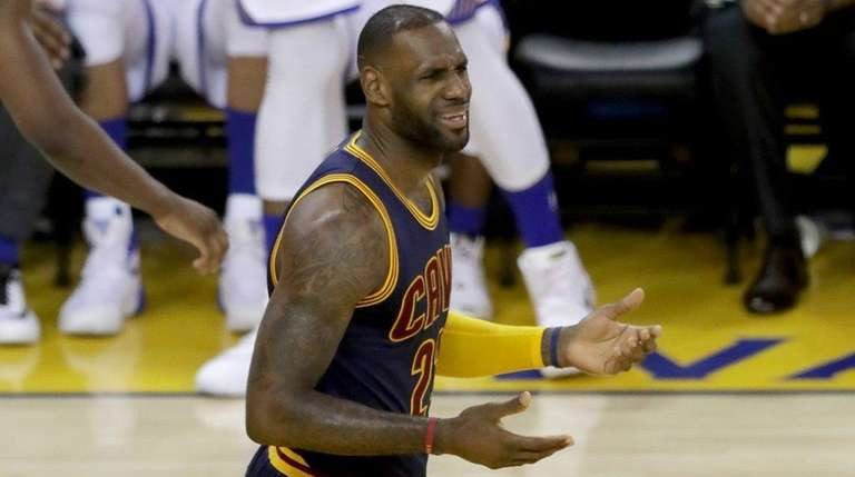 LeBron James of the Cleveland Cavaliers reacts in