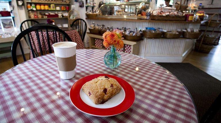 Enjoy a cranberry scone with a café latte