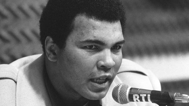 Muhammad Ali during a press conference on March