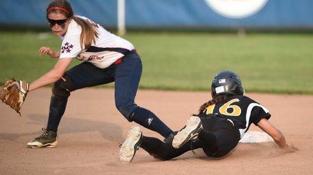 Commack's Gianna Venuti steals second base against MacArthur's