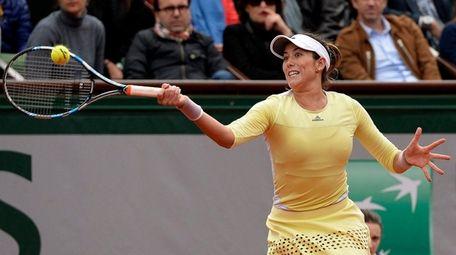Garbine Muguruza of Spain in action against Serena