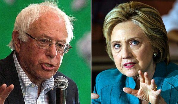 Democratic presidential rivals Bernie Sanders and Hillary Clinton