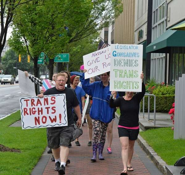 Transgender community supporters march in Garden City to