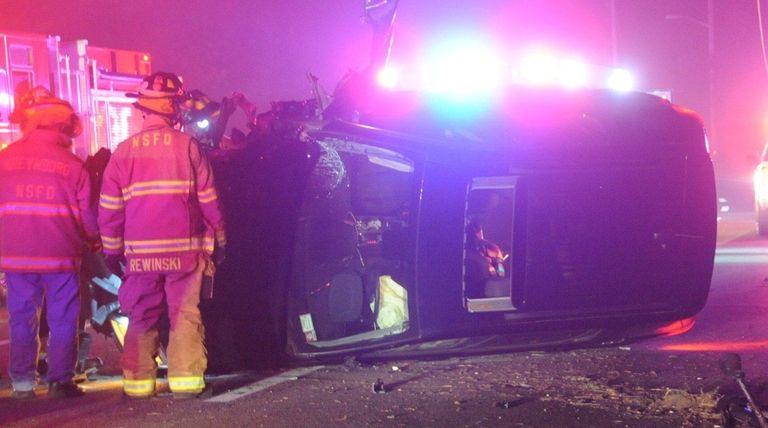 A GMC Suburban crashed at 10:05 p.m. Saturday,