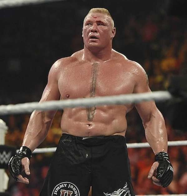 Brock Lesnar looks on during his wrestling match