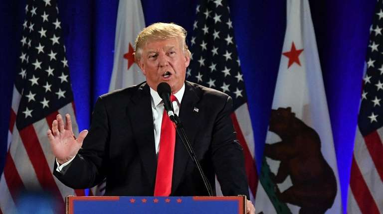 Donald Trump at a rally in San Jose,