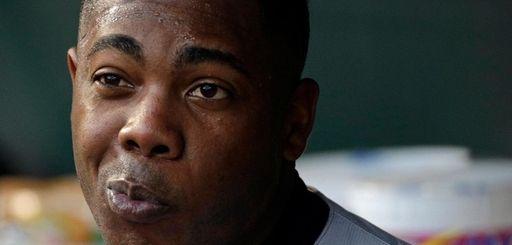 New York Yankees relief pitcher Aroldis Chapman sits