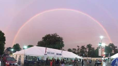 A rare double rainbow is seen over the
