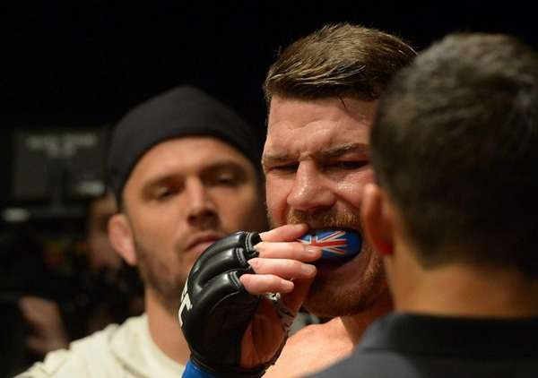Michael Bisping gets ready to enter the cage