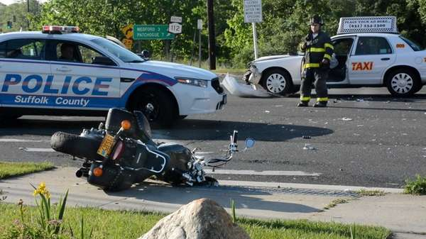 Suffolk County police said a motorcyclist was seriously