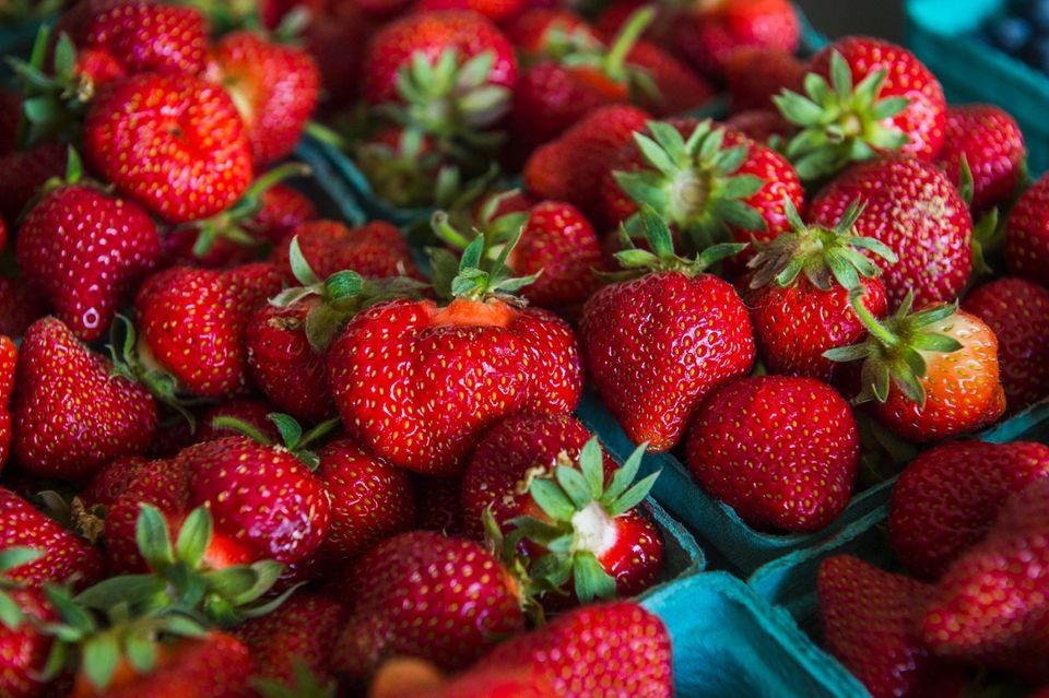 Freshly picked strawberries at Densieski Farms, on Lewis